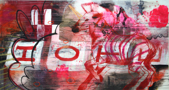 "2005, 40"" x 72"", Mixed Media on Mylar. red hope"