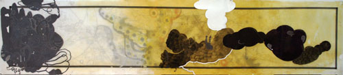 "2006, 20"" x 82"", Mixed Media on Mylar. this gold is more criminal"