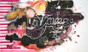 """2007, 36"""" x 59"""", Mixed Media on Mylar. portrait of slowpoke Rodriguez"""