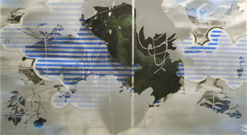 "2007, 36"" x 62"", Mixed Media on Mylar. hanguk sleep study"