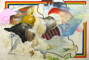 "2007, 40"" x 58"", Mixed Media on Mylar. la dibujante derecha vs. la pintor izquierda"