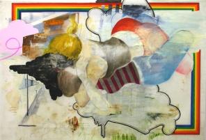 "2007, 40"" x 58"", Mixed Media on Mylar. la dibujante derecha vs. la pintor izquierda"